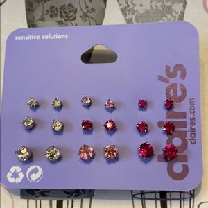 Faux pink rhinestone earrings set of 9 pairs